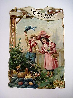 """Vintage Victorian Trade Card for """"Chocolat Poulain"""" Easter Theme -Colored Eggs *"""