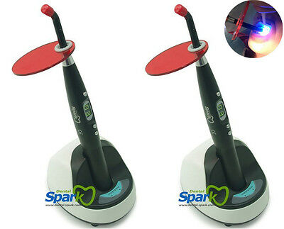 2x Spark Dental Black Wireless Cordless LED Curing Light Cure Lamp 9W 2000mw, CE