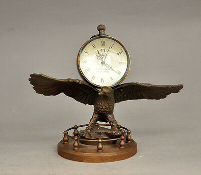 Decorations Rare brass Eagle Mechanical Table Clock