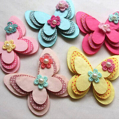 5 pcs Padded Felt Butterfly Satin Ribbon Flowers W/beads Appliques Wedding #195