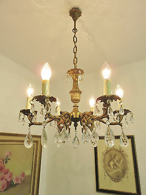 Superb Vintage French Chandelier Light Lamp Glass Droplets Lustre Pampilles