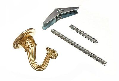 6 X Ceiling / Plant Hook Brass Plated With Toggle Fixing 15E7