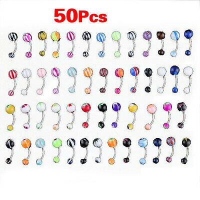 50 MIX Assorted Ball Belly Navel Barbell Bars Rings Body Piercing GY