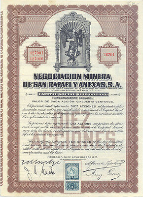 Mexico Negociacion Minera de San Rafael y Anexas Accion 1923 with Coupons