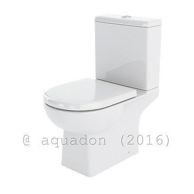Premier Ultra Asselby Modern Ceramic Bathroom Toilet Close Coupled WC Pan Seat