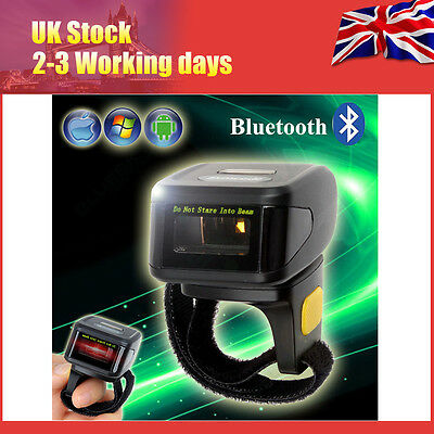 Mini Wearable Bluetooth 1D Laser Barcode Scanner Ring Type For iPhone Windows XP