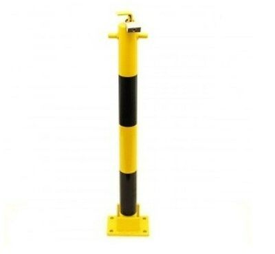 Fold Down Yellow & Black 810 Parking Post with Easy To Use Top Mounted Padlock