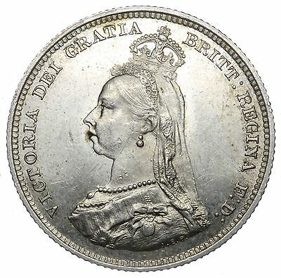 1887 Shilling - Victoria British Silver Coin - Superb