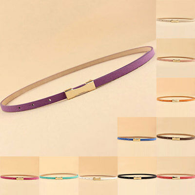 Women Lady Girl Skinny Waist Belt Thin  Narrow Waistband Strap Gift