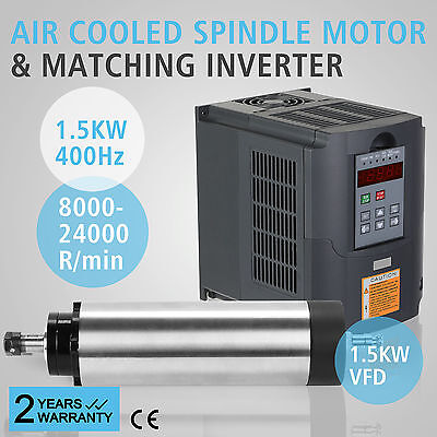 1.5Kw Air Cooled Spindle Motor 1.5Kw Vfd Engraving Drive Mill Grind 4 Bearing Uk