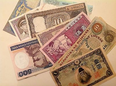Exceptional Lot of 40 World Currency Foreign Banknotes - sale priced!