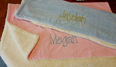 Luxurious Thick White Personalised Embroidered Baby Blanket