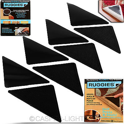 2 x 8 Pack Ruggies Rug Carpet Mat Grippers Non Slip Skid Reusable Washable Grips