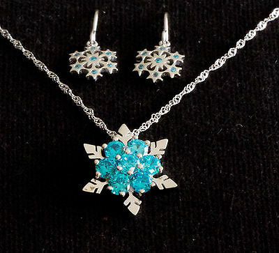 Frozen! Elsa Anna Snowflake Jewelry Girls S/S Necklace Earring Set Christmas