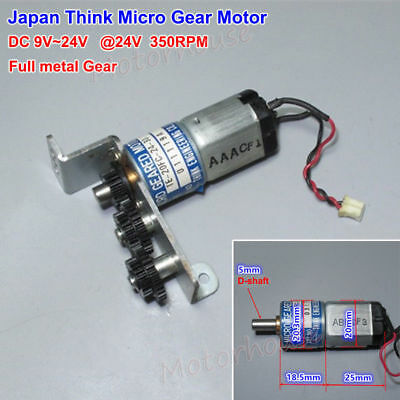 Japan THINK Micro Gear Motor DC 12V 24V 350RPM Full Metal Gearbox Deceleration