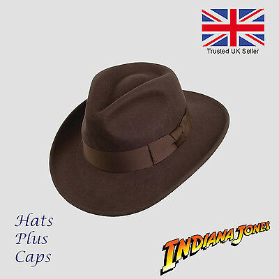 Indiana Jones Style Dark Brown Crushable Fedora 100% Wool Hat Water Repellent