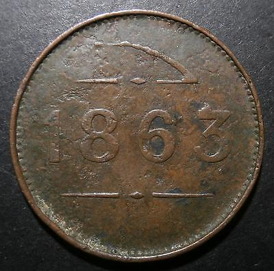 Ireland - Penny token 1863 - Roan spinning mill Coalisland co. Tyrone NI 1d 32mm