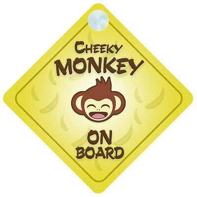 Cheeky Monkey On Board Car Sign New Baby/Child Gift/Present