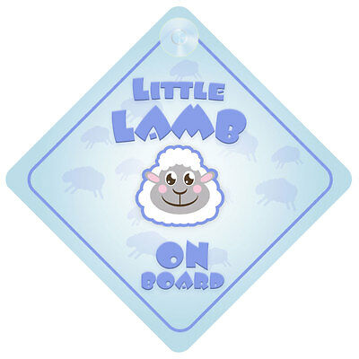 Little Lamb Blue On Board Car Sign New Baby/Child Gift/Present