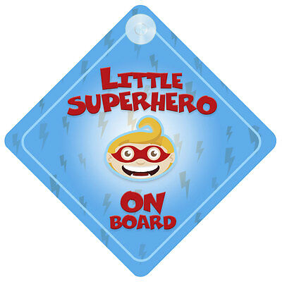 Little Superhero Blue On Board Car Sign New Baby/Child Gift/Present