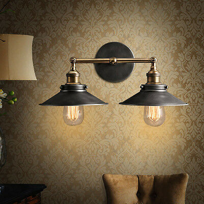 DOUBLE Rustic Sconce Wall Light Lamp Vintage Industrial Feeling Home Xmas Decor