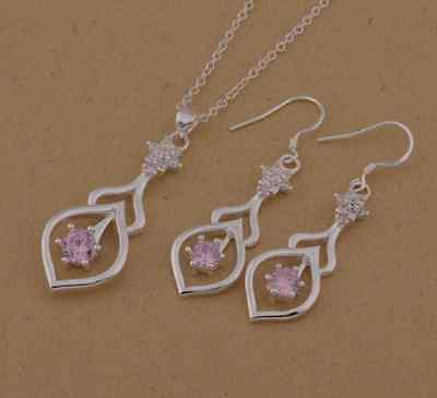 NEW Pretty Silver 925P Pink Diamante Necklace & Earrings Set, UK Seller