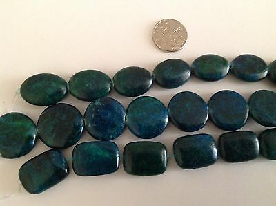 20mm blue green Azurite Chrysocolla round oval rectangle gemstones beads