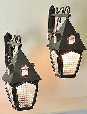 Rare Pair Vintage Wrought Iron Wall Lanterns Sconces Wall Lights Petite Maison