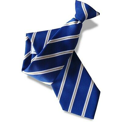 Royal Blue Mens Clip On Tie Clipper with White and Narrow Gold Stripes