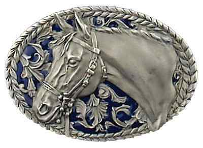 Horse head Belt Buckle Blue Enamel Pewter Country Cowgirl Western MADE IN USA
