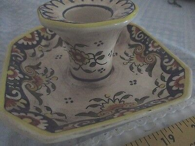 Antique Handmade Rouen French Majolica Porcelain Candle Stick Holder