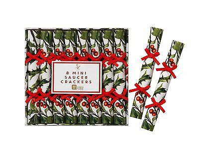 CHRISTMAS TABLE MINI CRACKERS X 8 - HOLLY DESIGN - Talking Tables