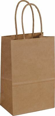 "250 Kraft Paper Bags Shoppers Mini Cub 14-8 5 1/4 X 3 1/2 X 8 1/4"" - 106439"