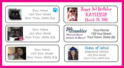 90 YOUR PHOTO or LOGO Personalized Return Address Labels, Birthday, Invitations