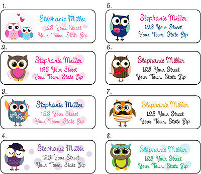 Personalized OWL Return Address Labels, 30 Per Sheet, Colorful Owls