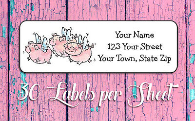 WHEN PIGS FLY Design Personalized Return Address Labels, 30 Per Sheet
