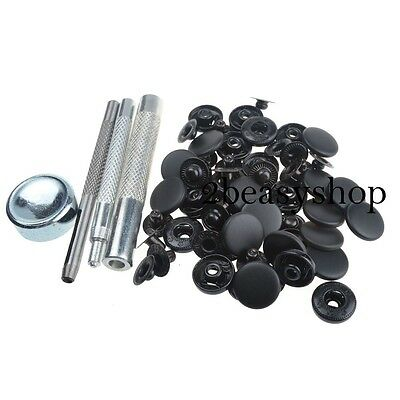 15mm x30 Black Matte Press Studs Kit Snap Popper Fastener Sewing Leather Buttons