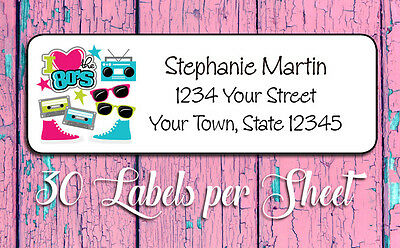 I LOVE the 80's Family Personalized Return Address Labels, 30 labels per sheet