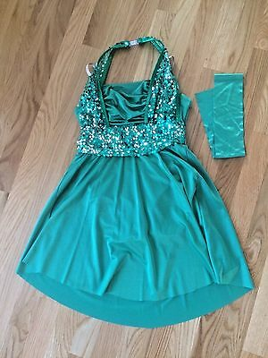 Curtain Call Costume Dance Tap Jazz Solo Emerald Green Sequins Child Large