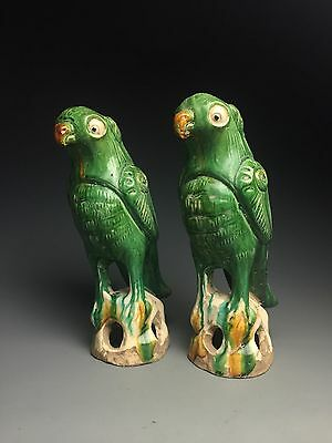 A pairs fine chinese green gazed porcelain parrots statues