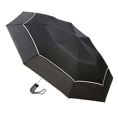 Black Automatic Open & Close Windproof Travel Double Canopy Umbrella Mens Womens