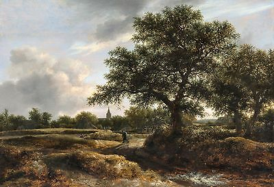 Landscape with a Village in the Distance by Jacob van Ruisdael 7x10 Print