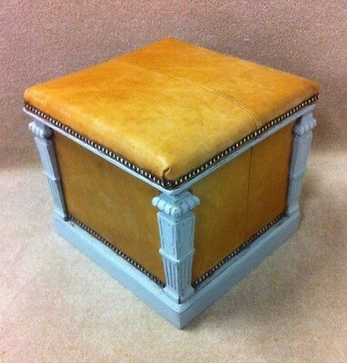 Early 1900's Leather Shabby Chic Ottoman Box Stool