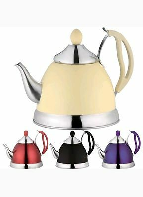NEW Stainless Steel TEA POT 1.5 litre with INFUSER Black or Purple