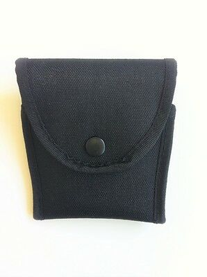 Handcuff Pouch Black Nylon Molded Stiched Case Holder Snap Close Belt Loop