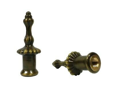 "Lamp Finial-Pair of 2-1/8"" antique brass PILLAR finials-Dual Thread"