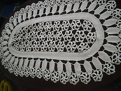 22'x39'' Vintage beautiful Handmade  Cotton tablecloth hand knitt crocheted