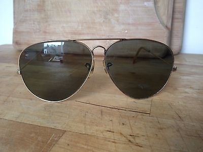 Genuine Vintage Gold Frame Bausch & Lomb Ray Ban Aviator Sunglasses