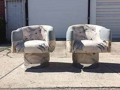mid century modern swivel lounge chairs chrome bases milo baughman pace probber