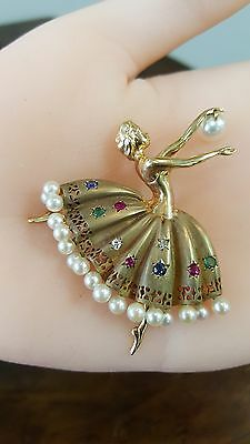 14K Yellow Gold Ballerina Brooch Pin Pendant Pearls, diamond, emerald, ruby!